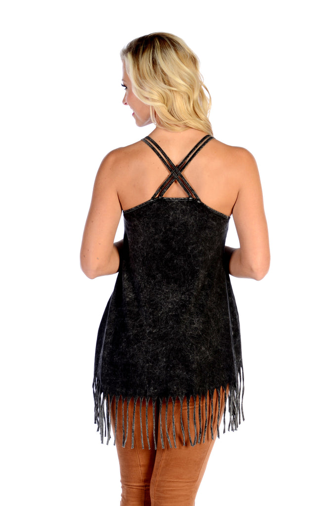Liberty Wear T-Shirt Tank Sweet & Sassy Fringe Black Back