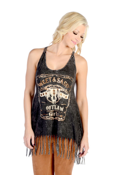 Liberty Wear T-Shirt Tank Sweet & Sassy Fringe Black Front