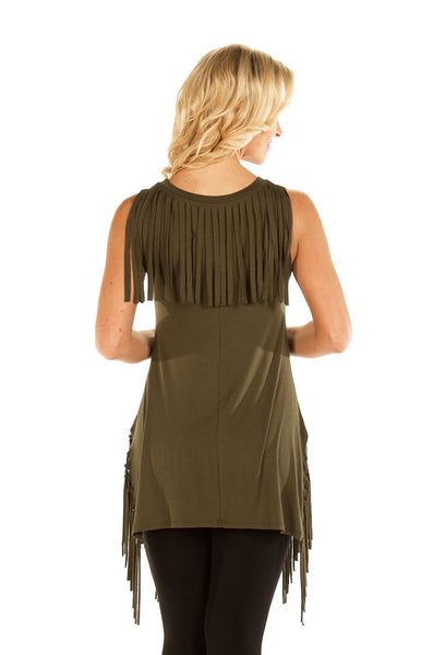 Liberty Wear Women's Tank Dress Make Me Wanna Shake Fringe Tunic Front