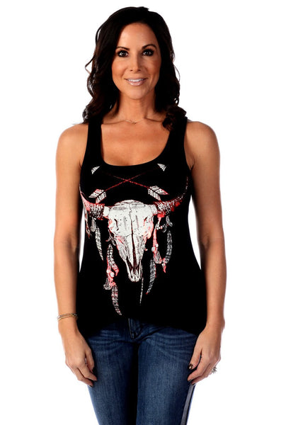 Liberty Wear Women's Tank T-Shirt Tribal Skull & Arrows Black Front View