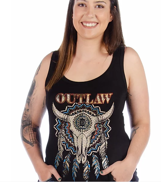 Liberty Wear Ladies' Outlaw Steer Skull Tank #7549