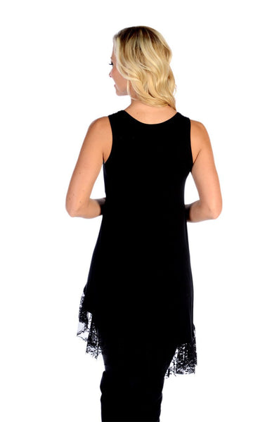 Liberty Wear Tank Dress Lacy Laurel Black Front View
