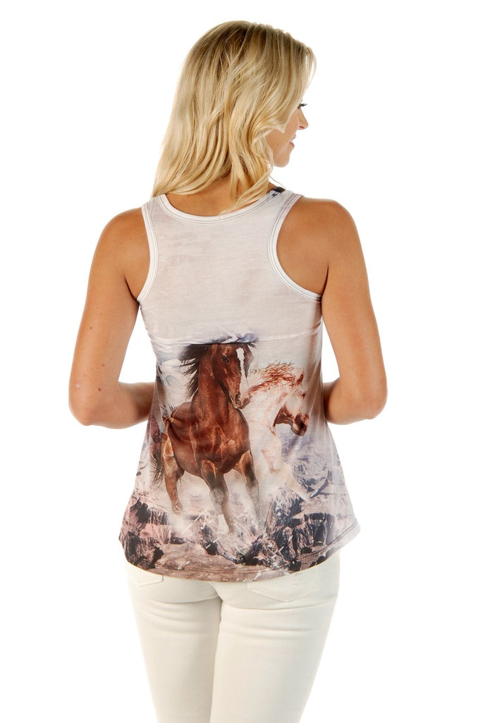 Liberty Wear Women's Tank T-Shirt Glorious Run Horses Front and Back View