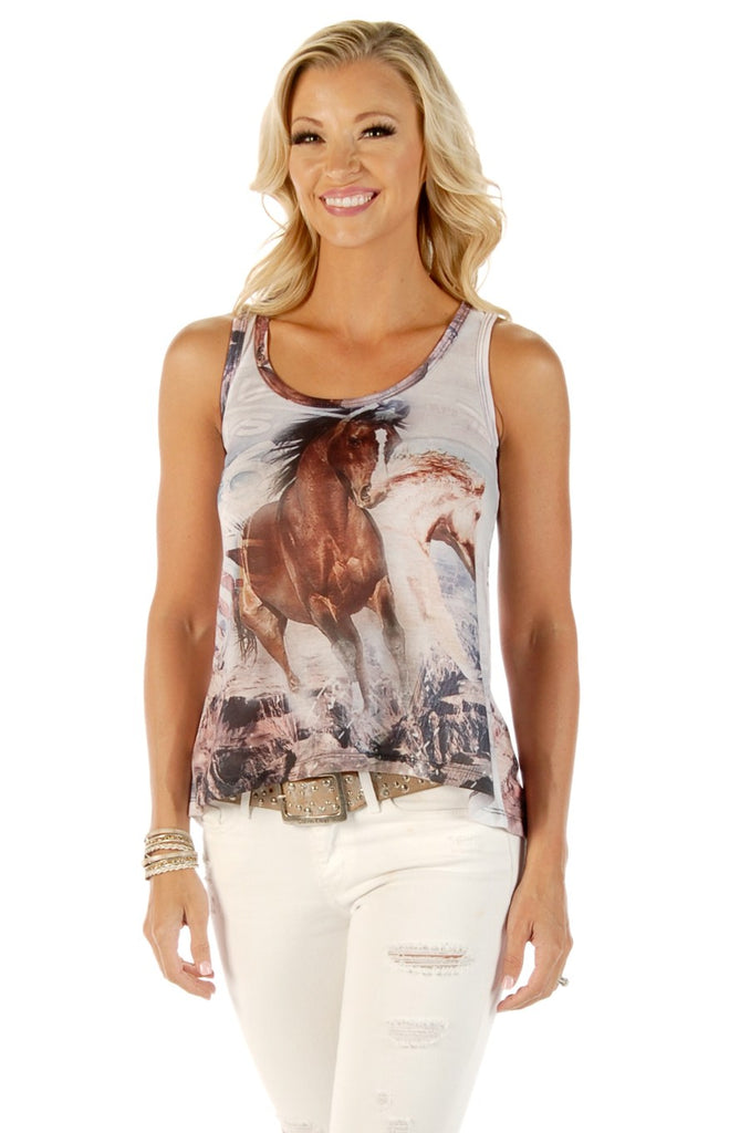 Liberty Wear Women's Tank T-Shirt Glorious Run Horses Front and Back Front View