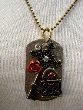 Dog Tag Boot Star Lock and Key Necklace