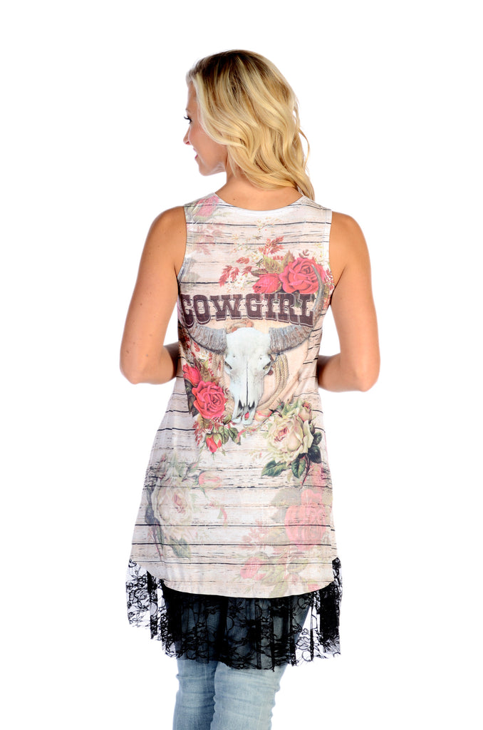 Liberty Wear T-Shirt Cowgirl Dress or Long Tank with Black Lace Back View