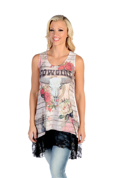 Liberty Wear T-Shirt Cowgirl Dress or Long Tank with Black Lace Front View