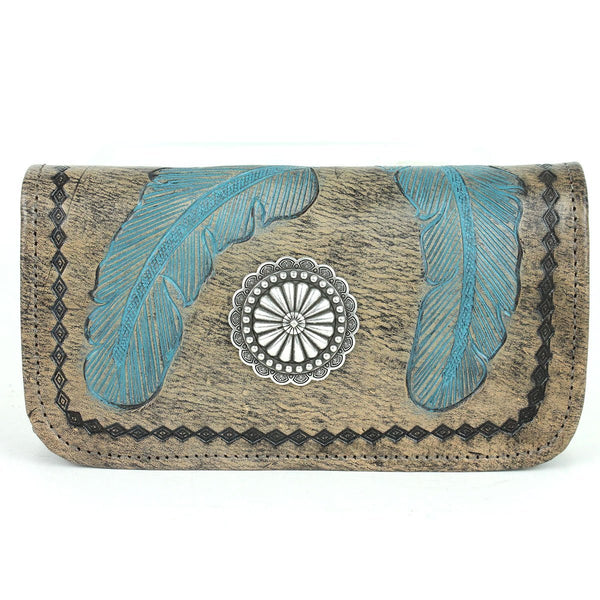 American West Handbag Sacred Bird Collection Tri-Fold Wallet Charcoal Brown and Turquoise Front