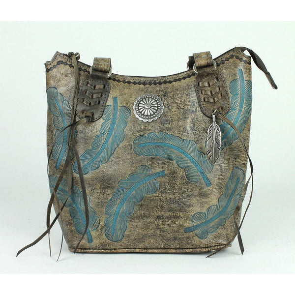 American West Handbag Sacred Bird Collection Zip Top Tote Charcoal Brown Front