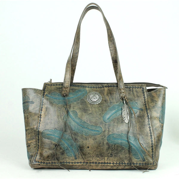 American West Sacred Bird Collection Zip Top Shoulder Tote Charcoal and Turquoise