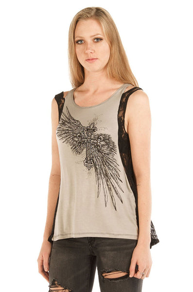Liberty Wear Women's Tank Cross and Feathers Front