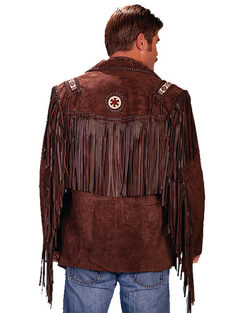 Scully Men's Suede Fringe Jacket with Beads Expresso Back