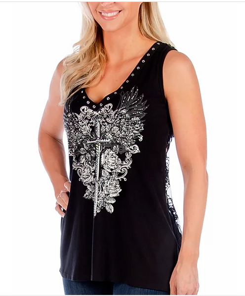 LIberty Wear Ladies' Tank Plugging Dagger #7581 Front Black