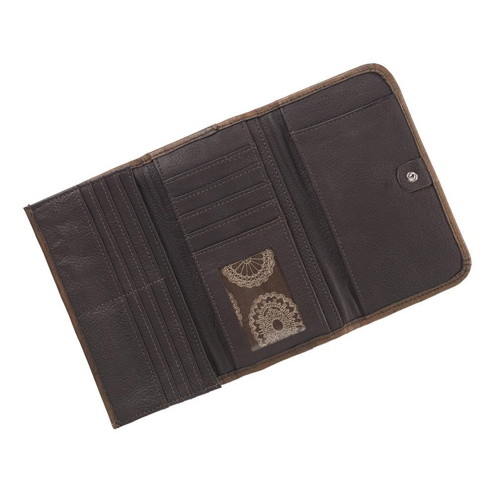 American West Handbag Sacred Bird Collection Tri-Fold Wallet Interior