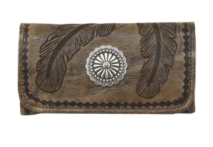 American West Handbag Sacred Bird Collection: Leather Tri-Fold Western Wallet