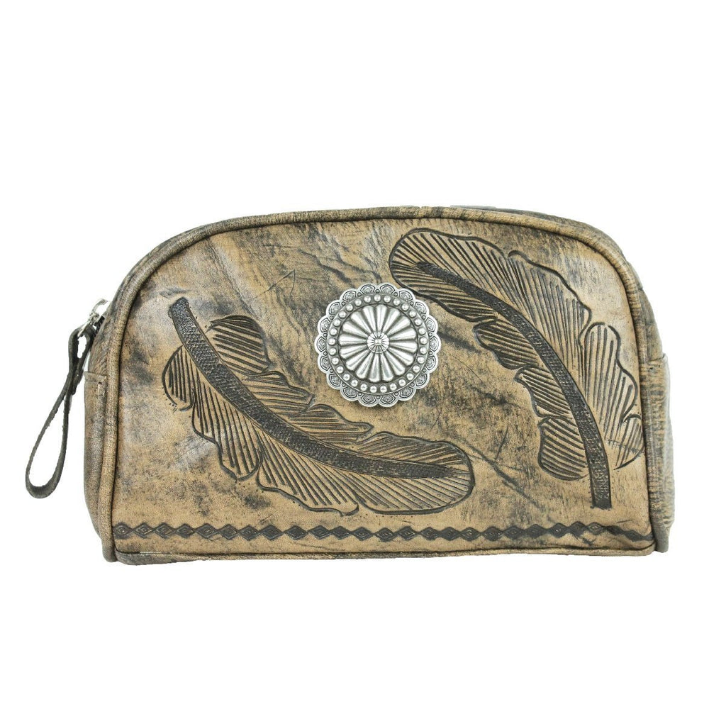 American West Sacred Bird Collection Cosmetic Case Charcoal Brown