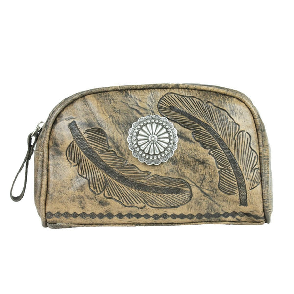American West Sacred Bird Collection Cosmetic Case Distressed Charcoal and Turquoise