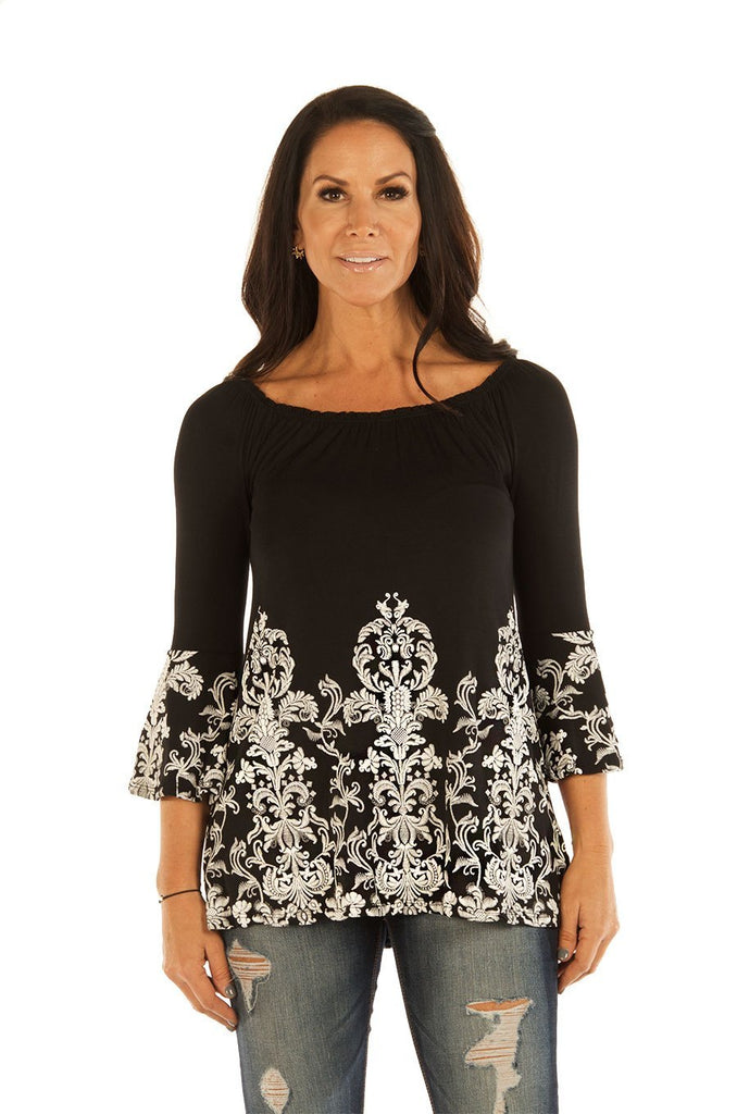 Liberty Wear Women's Top Ornate Scrolls Bell Sleeve Front
