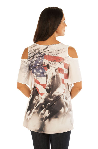 Liberty Wear Women's T-Shirt American Flag Cold Shoulder Front