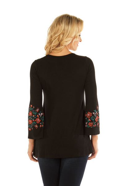 Liberty Wear Women's Top with Folk Print Bodice Sleeves Front