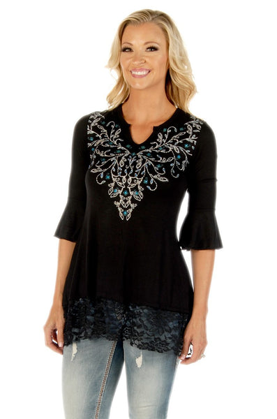 Liberty Wear Women's Tunic Top Vines and Sapphires Black Front View