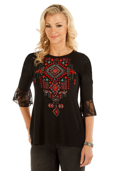 Liberty Wear Women's Top Laced Back Tribal Print Front