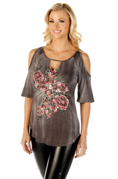 Liberty Wear Women's Top Tunic Cold Shoulder Cross Gray Front View
