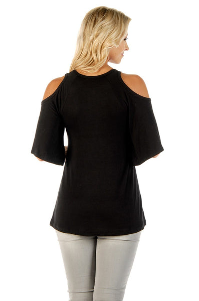 Liberty Wear Women's Top Falling Feathers Cold Shoulder Neckline Front View