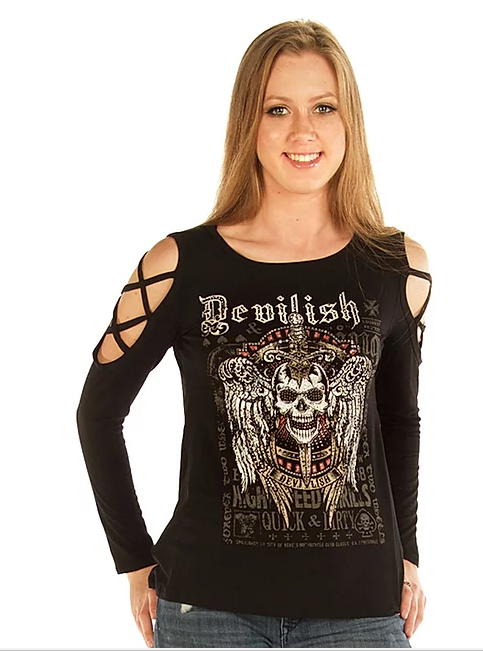 LIberty Wear Ladies' Top Devilish Raven Front #7697