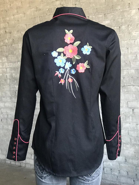 Rockmount Ranch Wear Women's Vintage Western Shirt Floral Blooms Black Front