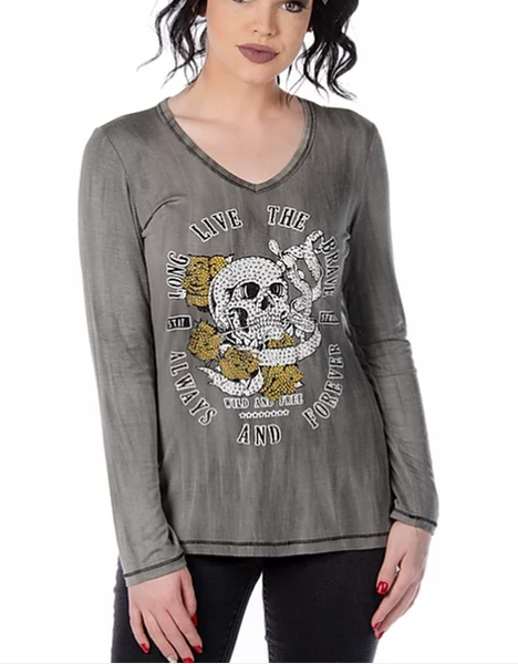 Liberty Wear Ladies' Long Live The Brave Skull Top #7709 Front