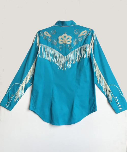 Rockmount Ranch Wear Women's Vintage Western Shirt White Fringe Turquoise Front on Mannequin