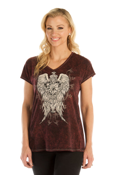 Liberty Wear Women's Top with Ornate Wings on Front, Lace Up Back Front View