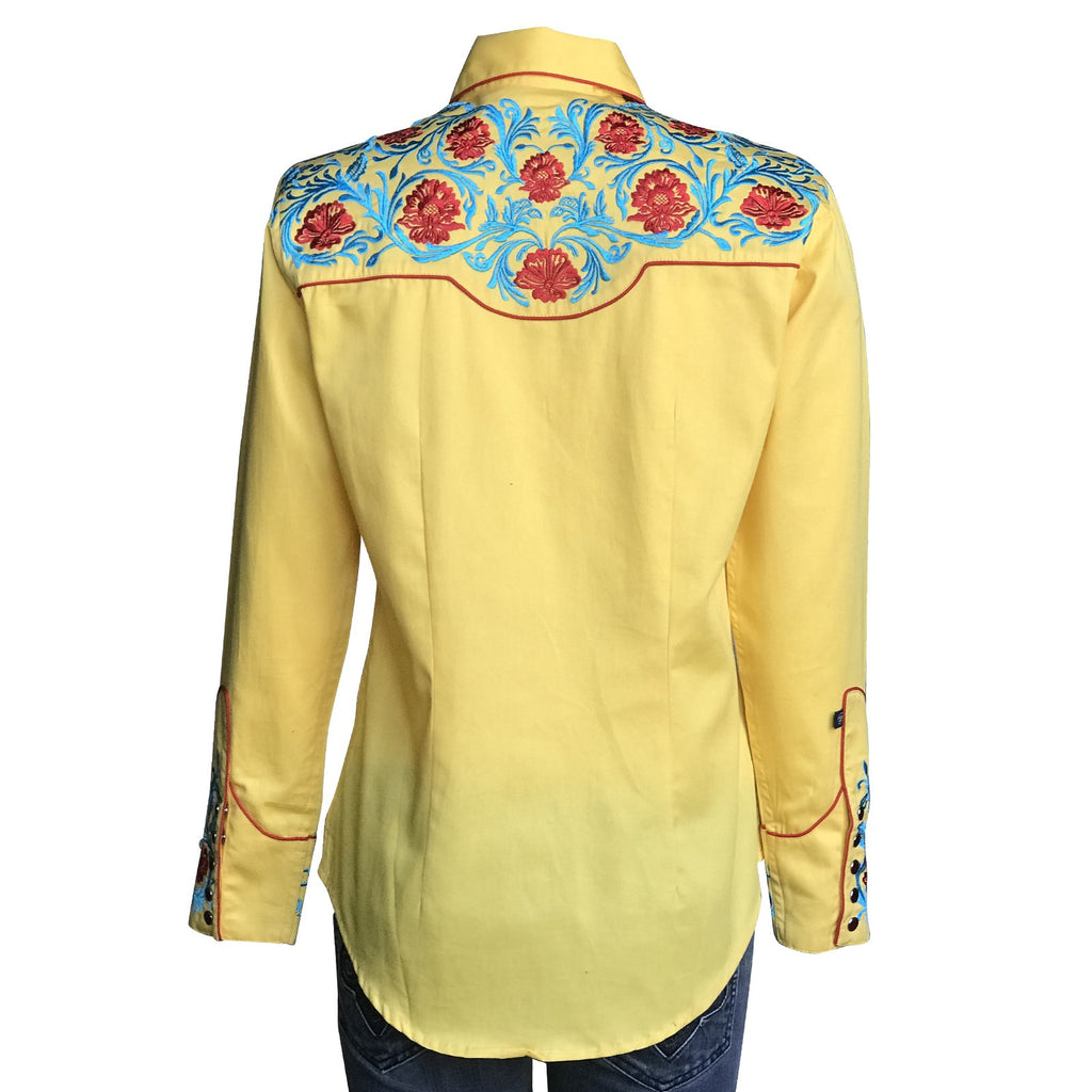 Rockmount Ranch Wear Women's Vintage Western Shirt with Fancy Floral Embroidery Back