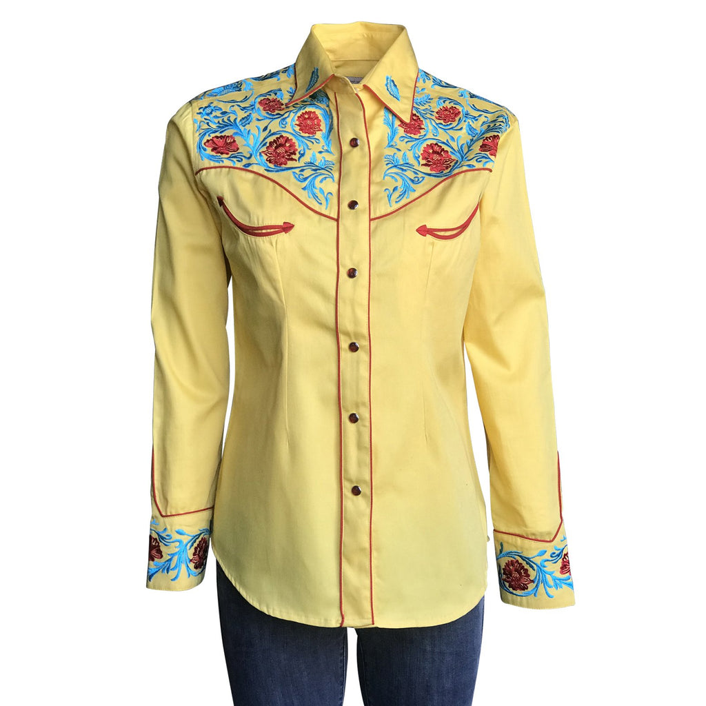Rockmount Ranch Wear Women's Vintage Western Shirt with Fancy Floral Embroidery Front
