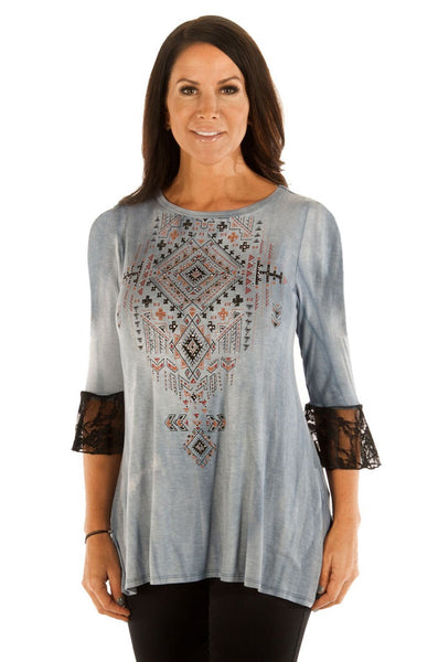 Liberty Wear Women's Top with Tribal Print and Lace Up Back Front