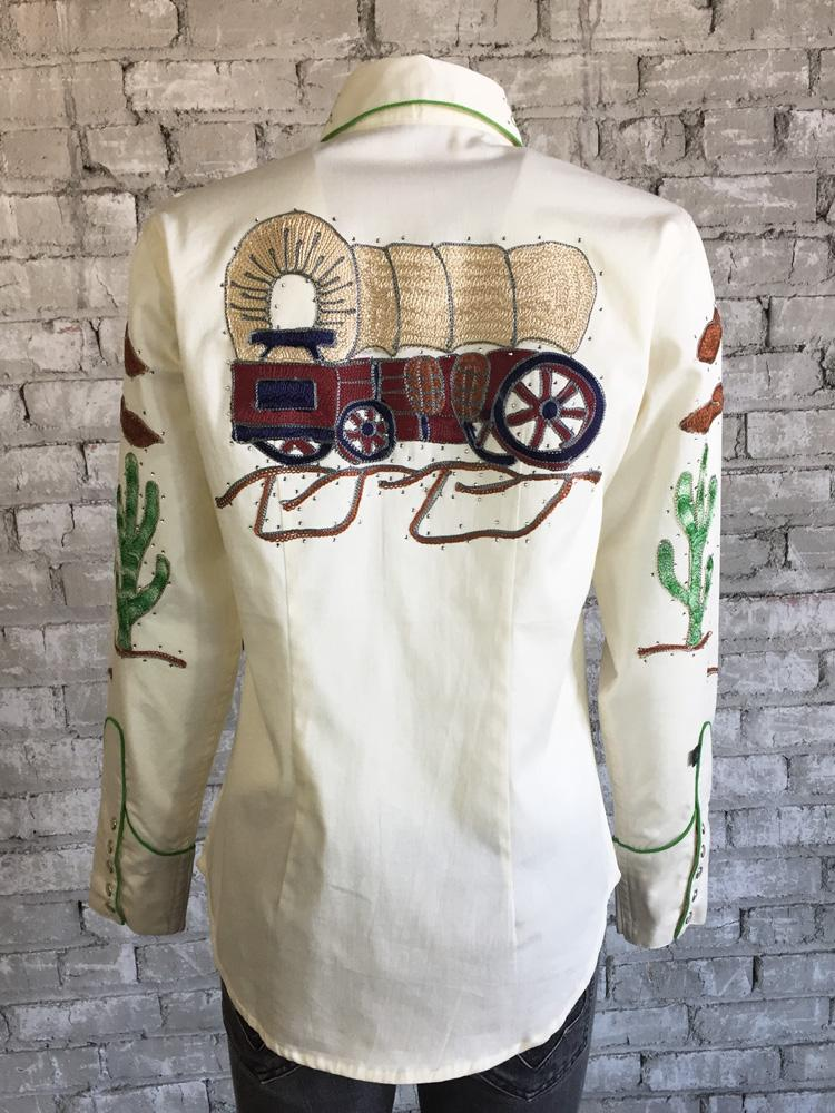 Rockmount Ranch Wear Ladies' Wheels Shirt Ivory Front