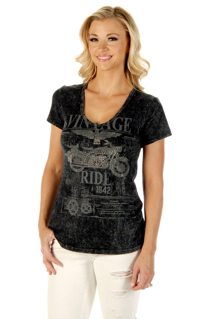 Liberty Wear Women's T-Shirt Vintage Ride Mineral Wash Grey Front View