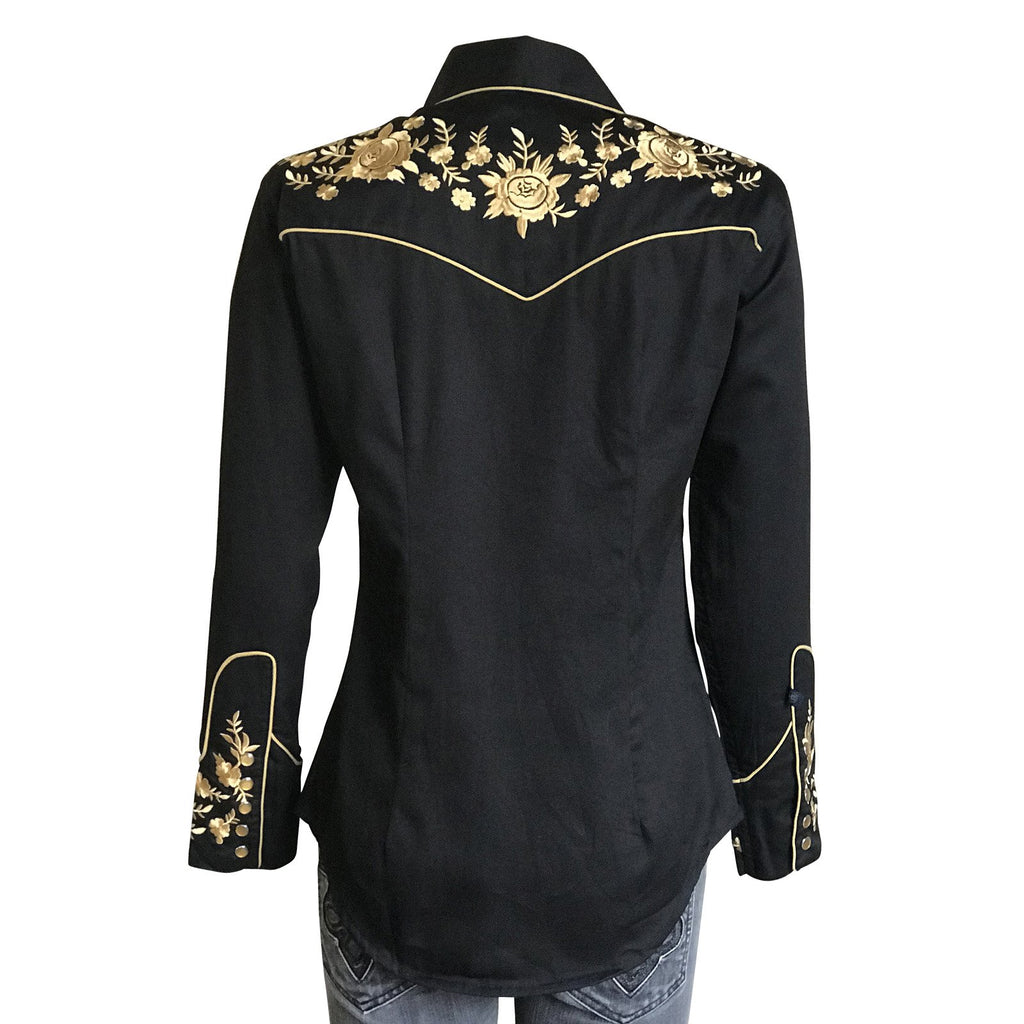 Rockmount Ranch Wear Women's Vintage Inspired Western Shirt with Gold Floral Embroidery Back