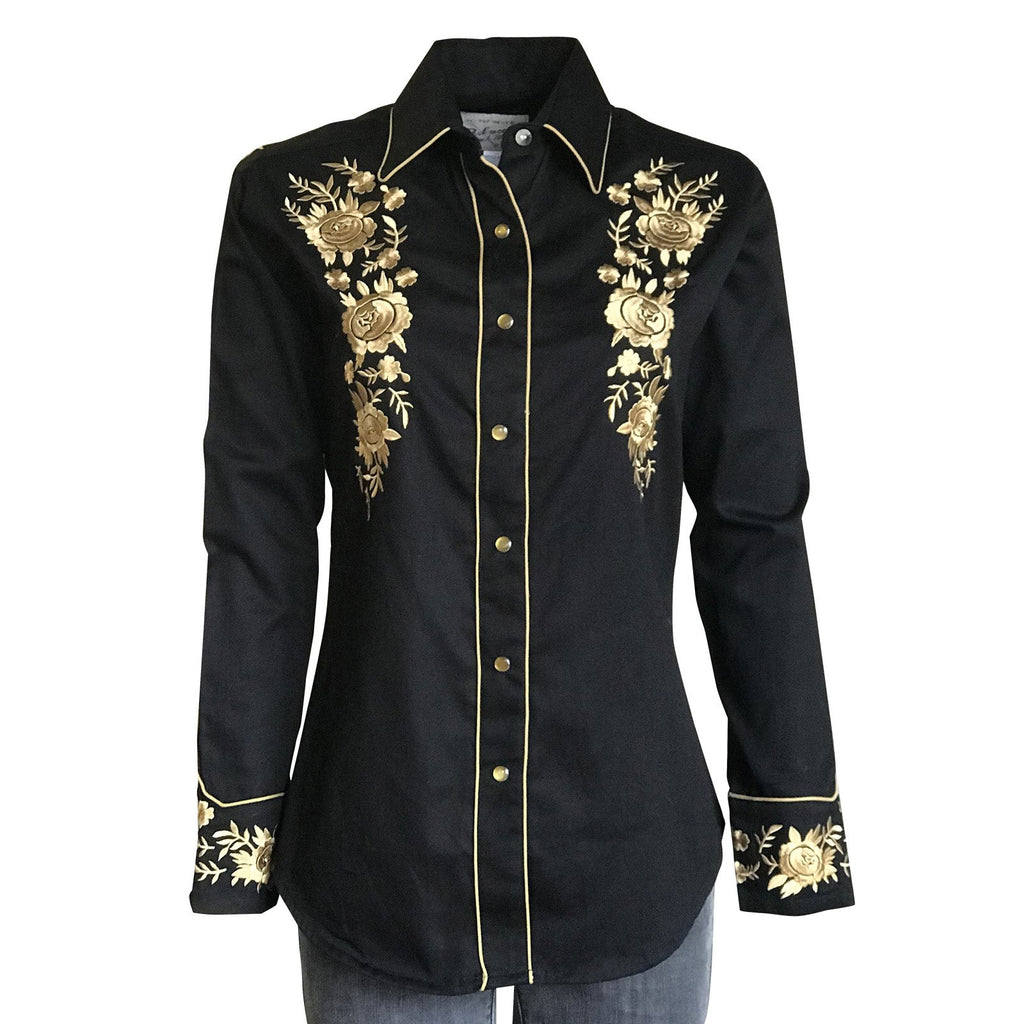 Rockmount Ranch Wear Women's Vintage Inspired Western Shirt with Gold Floral Embroidery Front