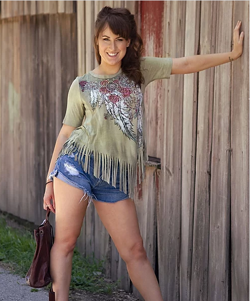 Liberty Wear Ladies' Fringed Top Outlaw Front #7761