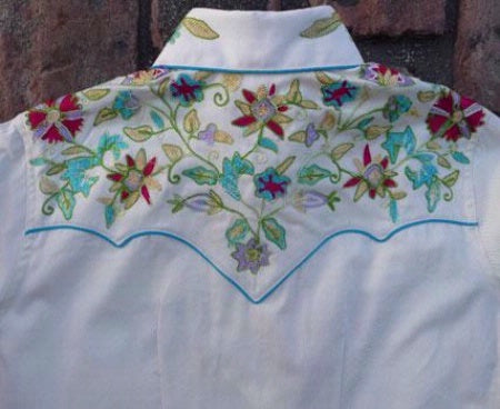 Vintage Inspired Western Shirt Ladies Rockmount Floral Embroidery Turquoise Trim Back XS