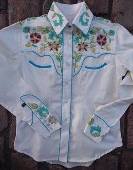 Vintage Inspired Western Shirt Ladies Rockmount Floral Embroidery Turquoise Trim Front XS