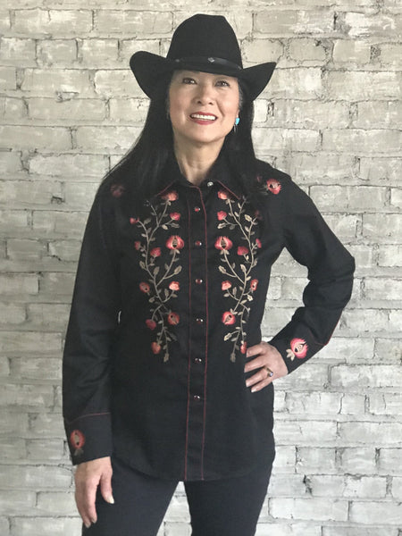 Rockmount Ranch Wear Ladies Vintage Inspired Western Shirt with Thistle Embroidery Black Front