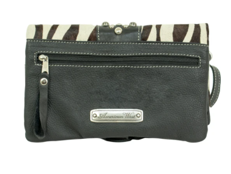 American West Handbag Hair On Hide Collection: Crossbody Wallet Combo Zebra