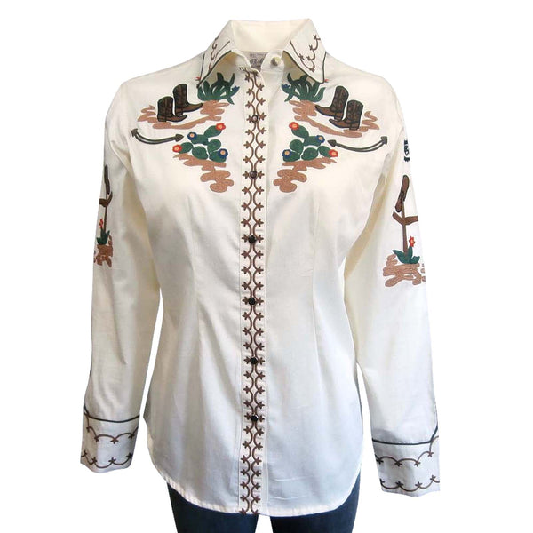 Rockmount Ranch Wear Ladies' Saddles and Boots Ivory Front #177842A