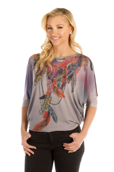 Liberty Wear Women's Top Cold Shoulder Feathers Front