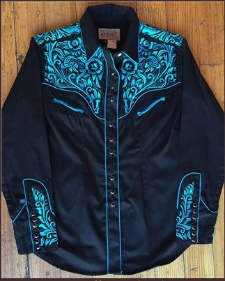 Rockmount Ranch Wear Womens Vintage Western Shirt Fancy Tooling Black Front
