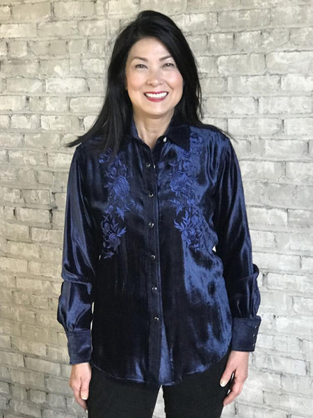 Rockmount Ranch Wear Ladies Vintage Western Shirt Floral Embroidery on Velvet Navy