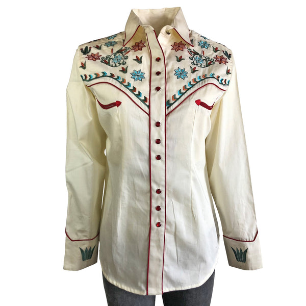 Rockmount Ranch Wear Ladies' Vintage Inspired Western Shirt Agave Cactus Floral Front #17865